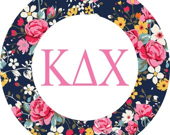 kappa delta chi 3 circle floral sticker with standard greek letters