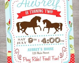 Vintage Horse Pony Birthday Party Invitation printable digital file