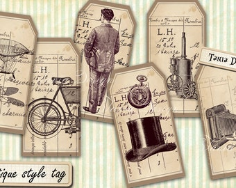 Antique Tags printable old vintage art craft hobby crafting scrapbooking instant download digital collage sheet