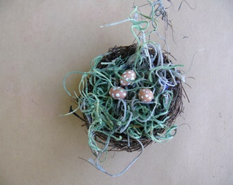 Miniature Bird's Nest with Eggs Fairy Garden Accessory Dollhouse Minis