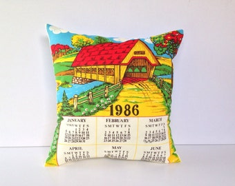 SALE 1986 Calendar pillow cover Covered Bridge Cushion vintage