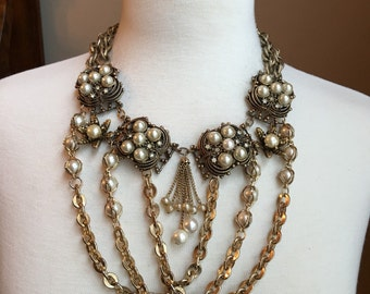 Gold Tone Pearl Bib Necklace