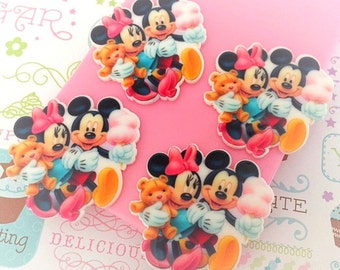 35mm Mickey Mouse and Minnie Flatbacks - 4 pcs set