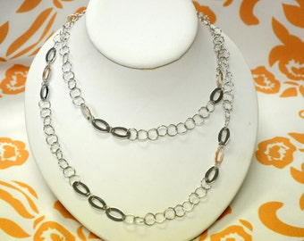 Wedding Necklace - 100% Sterling Silver,Long Silver Necklace-Free Shipping.
