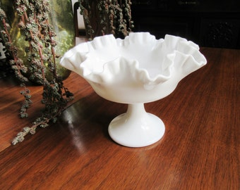 Milk Glass Pedestal Candy/Nut Dish with Ruffled Brim
