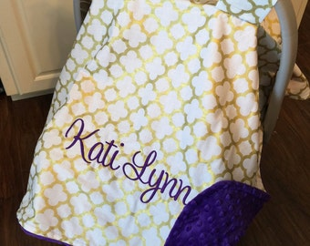 Personalized baby carseat canopy, monogram car seat cover, custom baby gift, car seat canopy girl, baby shower gift, monogrammed gold purple