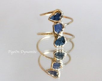 Raw Sapphire 10K Yellow Gold Ring, One of a Kind, Ready to Ship Ring in size 6-7, Three Sapphire Gold Statement Ring, 10K Solid Gold Ring