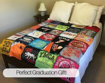 Graduation Tshirt Quilt, Tshirt Quilt, Graduation Gift, Custom Tshirt Quilt