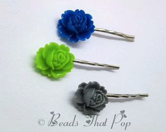 Green, Grey & Blue Flower Bobby Pins, Set of 3, Rose Bobby Pins, Hair Clips, Handmade Hair Accessories, Great Value!