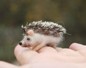 Needle felted hedgehog, felted animal, Miniature soft sculpture, Woodland