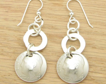 For 40th: 1977 US Dime Earrings with Silver Rings 40th Birthday or 40th Anniversary Gift Coin Jewelry