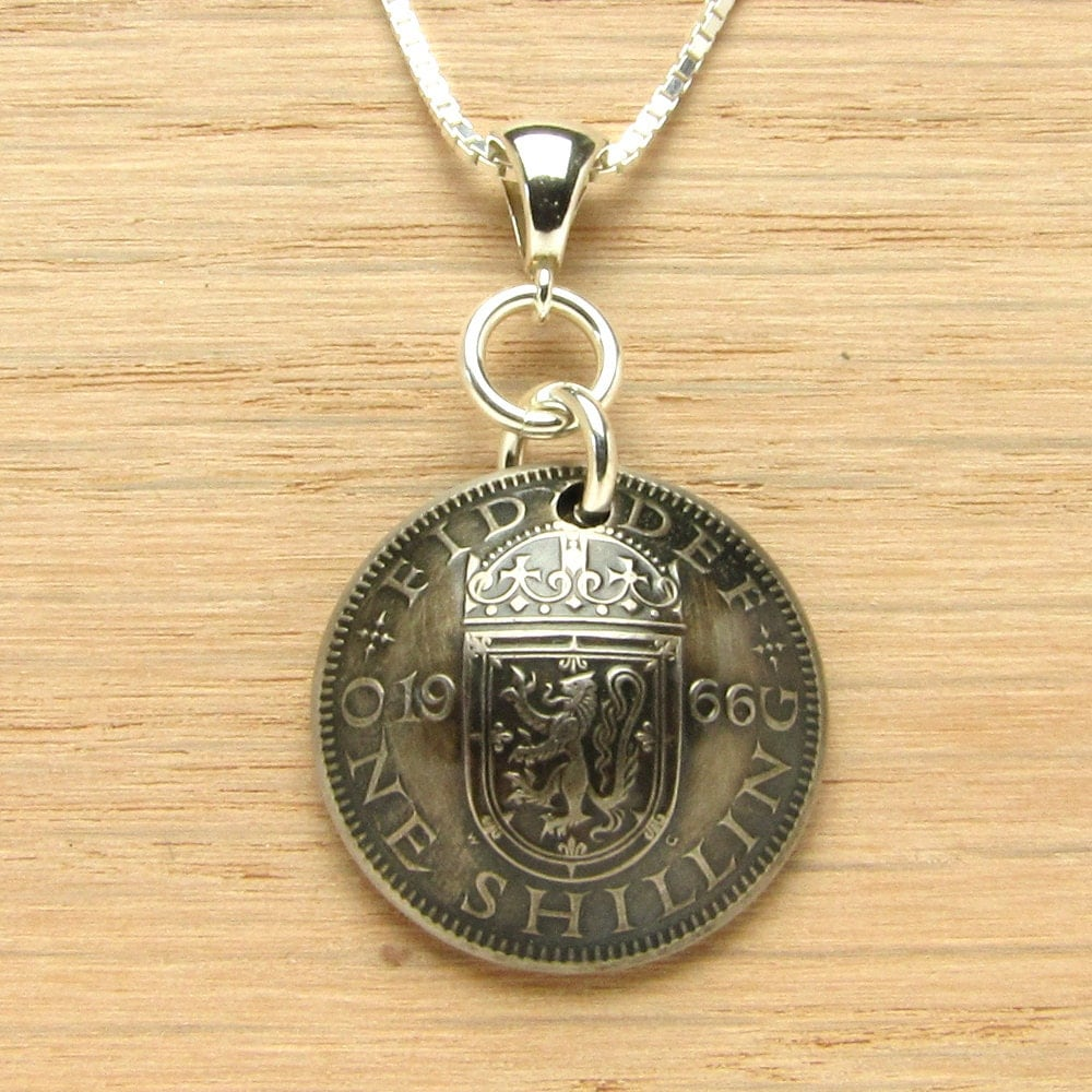 50th Birthday: 1966 UK One Shilling Necklace Coin Jewelry 50th