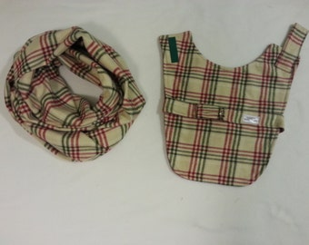 Plaid Handmade Dog Coat with Matching Infinity Scarf for You!