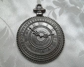 Heavyweight Gunmetal Grey Black Metal Fob Pocket Watch Pendant Steampunk #1533