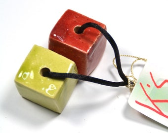 XXL Ceramic  Cube Beads, Handpainted in LimeGreen and Dark Red