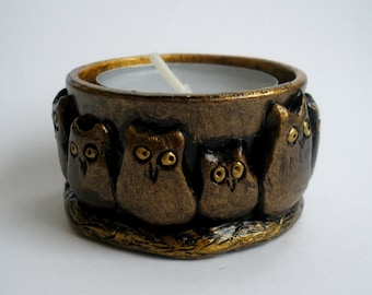 Owl Candle Holder Bronze and Gold
