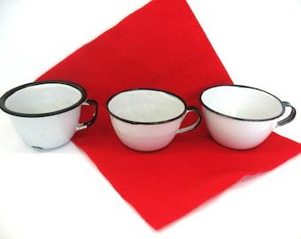Enamelware Cups 3 Enamel Cups Granite Ware Drinking Cups Swedish Enamel Ware