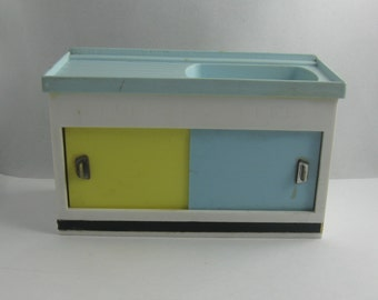 dollhouse furniture sink cabinet with 2 sliding doors made of plastic blue yellow