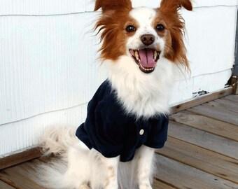 Pet Clothes / Dog Clothes / Navy Dog Polo / Preppy Pet Shirt