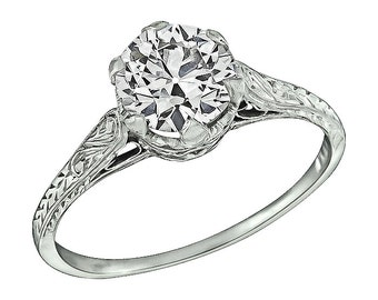Edwardian GIA Certified 0.96ct Diamond Engagement Ring