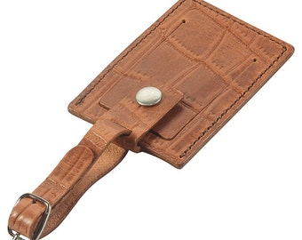 Leather Luggage Tag, Handmade, Tan Crocodile Grain Leather