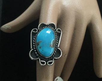 Ladies ring in silver and turquoise,southwestern,circa 1960s