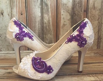 Colored Bridal Shoes Purple Ivory White All Lace Beaded Peep Toe Platform