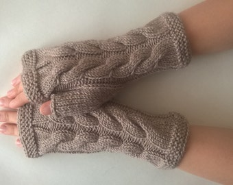 Handmade light BROWN fingerless gloves, wrist warmers, fingerless mittens. Knitted of union cloth ( wool and acrylic ). Cable gloves.