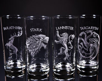Game of Thrones, Glasses, Etched Glass, House Stark, Targaryen, Baratheon, Lannister, Glassware, Engraved Glasses, Personalized
