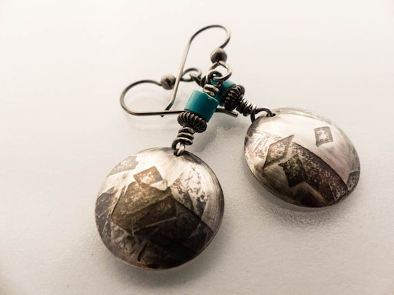 Sterling Silver Turquoise Handmade Dangle Earrings