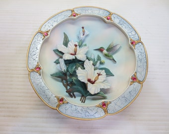 Bradford Exchange Lena Liu Rose Colored Dawn 3D Hummingbird Plate 1st Issue