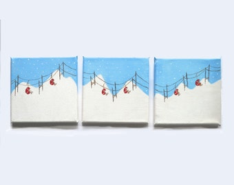 Ski Lifts Triptych Wall Art, Cable cars in snow canvas, Original Painting, Winter Ski Lodge Art, Skiing, Christmas set of three, Snow Scene,