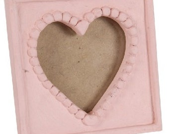 Small Wooden Heart Photo Picture Frame - Pink