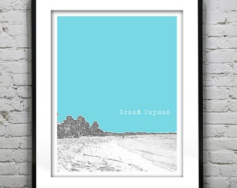 Grand Cayman Islands Skyline Poster Print Art Version 1