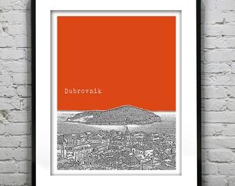 Dubrovnik Croatia Skyline Poster Art Print