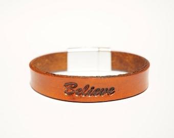 "Leather Bracelet - ""Believe"""