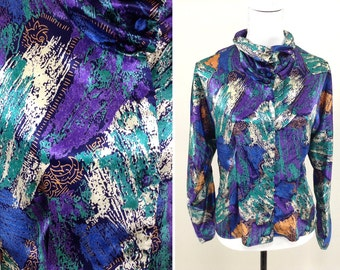 Vintage Purple & Green Abstract Pattern Blouse