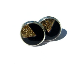 Black and Golden Triangle Earrings, handmade studs, Triangle Earrings Studs, Geometric Jewelry, Black jewelry