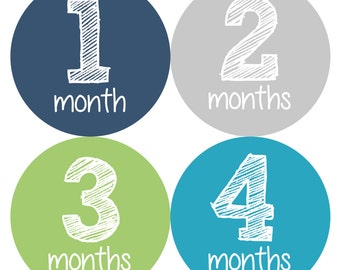 Baby Month Stickers, Monthly Baby Boy Stickers, Baby Month Boy Stickers, Milestone Stickers - Baby Boy, Baby Shower Gift, Grey, Blue, Mint