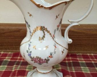 Vintage Pitcher Vase with Floral Design and Gold Trim ~ Vintage Home Decor
