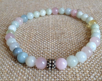 6mm Beryl Morganite Aquamarine stretch bracelet