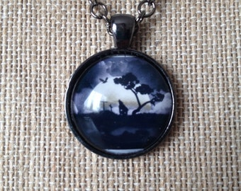 haunted house eery necklace cabochon and gunmetal chain