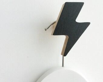 Wall Hook Lightning Bolt Black