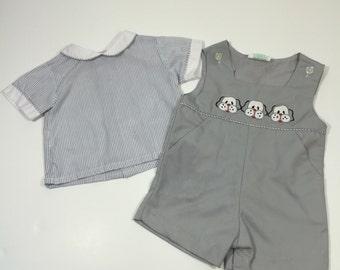 Vintage Boy's Puppy Outfit - Size 24 months - Vintage Picture Outfit - Vintage Dog Outfit - Boy's Vintage Romper - Vintage 24 months