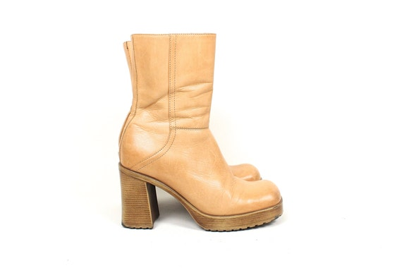90s Tan Leather Chunky Boot 90s Steve Madden By