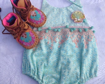 3m Mermaid-inspired, seashell lace sunsuit - Ready to ship
