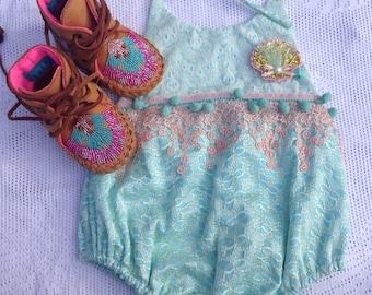 Newborn romper, Mermaid-inspired, seashell lace sunsuit - Ready to ship