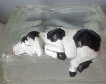 Hand Painted Ceramic Small Cow Shelf Sitter