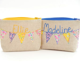 Personalised  Purse // Liberty Fabric // Bunting Design // Choose your Liberty Fabric // Small Change, Coin Purse // Gift for Her