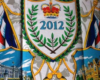 Tea towel - cotton tea towel celebrating the Queens diamond jubilee 2012 Royalty souvenir in perfect condition